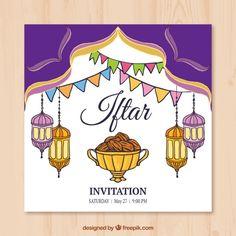 Invitation card for ramadan kareem iftar party celebration hand drawn iftar invitation with lanterns free vector stopboris Image collections