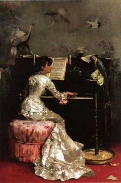 Young Woman at Piano Oil Painting Reproduction On Canvas