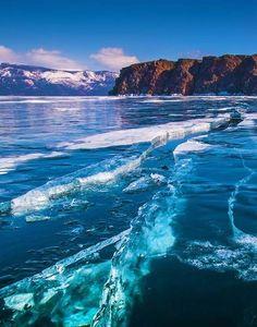 Giant Crack on Frozen Lake Baikal Siberia Russia Amazing Places Beautiful World, Beautiful Places, Amazing Places, Places Around The World, Around The Worlds, Siberia Russia, Wild Life, Amazing Nature, Wonders Of The World