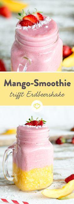 Erdbeershake und Mango-Smoothie. Ein fruchtig-cremiges Stelldichein. In Kombination - der perfekte Drink für die ersten Sommertage.