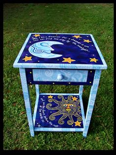 Hand Painted Furniture - Dreamer's Moon Accent Table