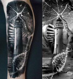 Lighthouse & Synapses  #Guys, #Legtattoos, #Sailortattoos