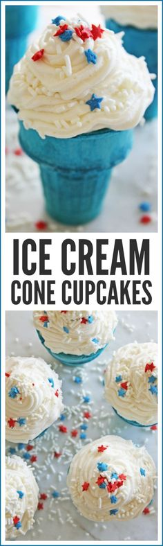 Patriotic Ice Cream Cone Cupcakes. These are the perfect dessert for your July 4th parties and BBQ. Great for kids!   CatchMyParty.com