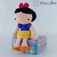 Snow white doll amigurumi crochet pattern by One and Two Company