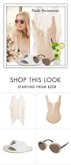 """nude"" by sandevapetq ❤ liked on Polyvore featuring Jimmy Choo, Eberjey, Marysia Swim, Joie and Valentino"