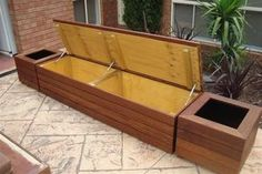 Merbau Outdoor Storage Bench Seats Planter Boxes | eBay