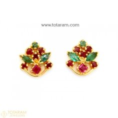 22K Gold Earrings for Women with Ruby & Emerald - 235-GER8056 - Buy this Latest Indian Gold Jewelry Design in 6.000 Grams for a low price of $416.64 Indian Gold Jewellery Design, Gold Temple Jewellery, Gold Jewelry, Jewelry Design, Gold Jhumka Earrings, Indian Earrings, Women's Earrings, Gold Necklace, Gold Earrings For Women