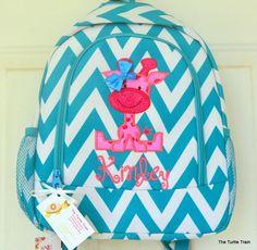 Giraffe Applique on Turquoise Blue Chevron Backpack  Diaper Bag #Unbranded #Backpack