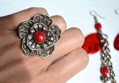 anillo vintageset de pendientes y anillo by Limbhad on Etsy, €18.00