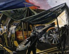 A Howitzer Firing, 1918, by Paul Nash.; Paul Nash became one of the best-known British official war artists of the First World War. This painting highlights the role and power of artillery, which caused the majority of casualties during the conflict. The howitzers are disguised with camouflage netting and a biplane is just visible in the sky, emphasising the modern technology of war supplied by the industry of home. The painting is a modernist interpretation of a modern war.