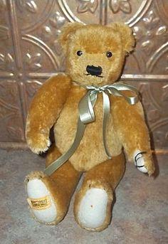 Vintage Merrythough Jointed Teddy Bear England Stuffed Animal.