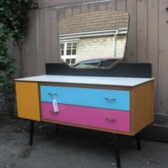1960s Upcycled Dressing Table £225.00.  found a dressing table almost identical to this for 50euro in a charity shop. time to paint it up.