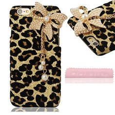 MIN KITTY Fashionable Leopard bow Animal Print three White Pearl Bowknot Protective Shell back hard Case Cover for iphone 6 47inch free microfiber cloth ** See this great product.