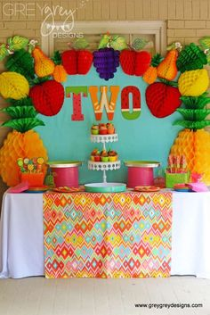 "Fruit / Birthday ""Avery's Two-tti Fruiiti Party"" Fruit Birthday, 2nd Birthday Party Themes, Second Birthday Ideas, Girl Birthday, Birthday Cake, Tutti Fruity Party, Deco Fruit, Tutti Frutti, Fruit Party"