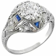 Antique  EGL Certified 2.00ct Diamond Sapphire Engagement Ring