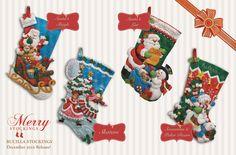 Bucilla Felt Christmas Stockings: 4 new stockings released in December 2012. MerryStockings will have plenty of all 4 designs. Take a sneak peek!!!