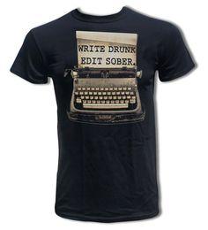 Ernest Hemingway Quote - Write Drunk. Edit Sober T Shirt - Graphic Tees for Men & Women on Etsy, $15.99