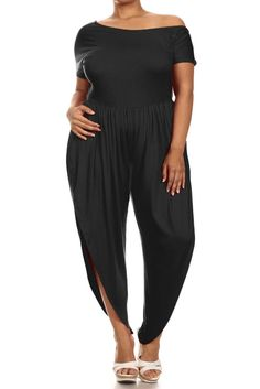 91f3479a6e5 Plus Size Open Leg Off Shoulder Black Jumpsuit – PLUSSIZEFIX Plus Size  Clubwear