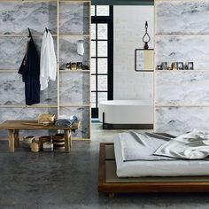 Modern Japanese Bedroom with Wallpaper Screens