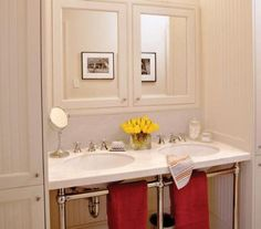 Double Your Vanity - Comfortable Guest Baths - Southernliving. Make your guest bath comfortable for couples and install a double sink or vanity. Guest Bathrooms, Upstairs Bathrooms, Dream Bathrooms, Cottage Bathrooms, Small Bathrooms, Teen Shared Bedroom, Country Bathroom Vanities, Vanity Bathroom, Bathroom Bath