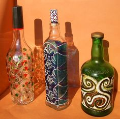 RichanaDragon ||| Glass bottle. Also can be used as LED shade. Hand painted stained glass.