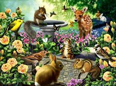 Other Harmony - blossoms, artwork, rabbit, squirrel, flowers, cat, birds, fawn, painting, skipmunk, animals, butterflies
