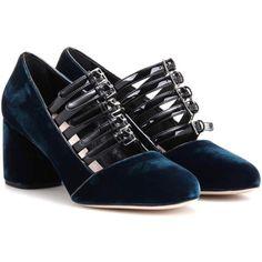 Miu Miu Velvet Pumps ($825) ❤ liked on Polyvore featuring shoes, pumps, blue, miu miu pumps, blue shoes, miu miu shoes, velvet pumps and velvet shoes