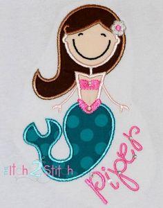 Mermaid Shirt  Custom Machine Appliqué  by RockintheTutu www.etsy.com/shop/rockinthetutu #mermaidshirt #rockinthetutu
