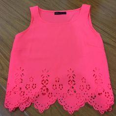 Cute neon pink top Neon pink top! Ally Tops Tank Tops