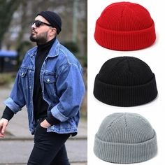 Flag of Chicago Mens Womens Stylish Knit Beanie Hat Skull Chunky Cuff Hats