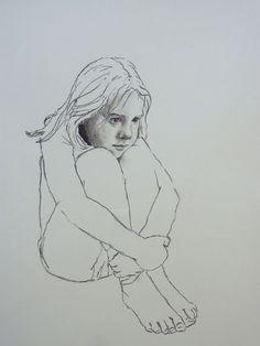 Girl interrupted   2012 Charcoal on paper #RosKochArt