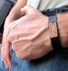 Personalized Men's Bracelet - Hand Stamped Leather Bracelet Black or Brown - Custom Band Bracelet on Etsy, $39.00