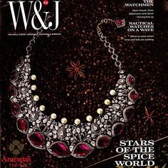 Lotus Ruby Diamond Necklace featured on the cover of Wall Street Journal. is at in Kolkata. Lotus Necklace, Emerald Necklace, Bridal Jewelry, Gold Jewelry, Jewelry Shop, Jewelry Design, Pakistani Bridal Wear, Jewellery Sketches, Wedding Prep