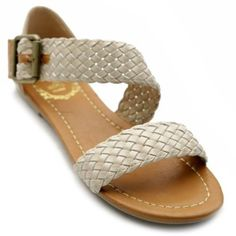 Ollio Womens Shoes Braided Flats Side Buckle Accent Multi Colored Sandals,$14.99$14.99