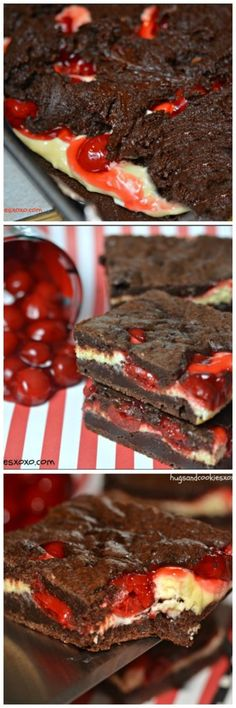 Cheesecake Brownies - Hugs and Cookies XOXO Black Forest Cheesecake Brownies ~ If you love black forest goodies then this recipe is for you!Black Forest Cheesecake Brownies ~ If you love black forest goodies then this recipe is for you! No Bake Desserts, Just Desserts, Delicious Desserts, Dessert Recipes, Yummy Food, Health Desserts, Health Foods, Drink Recipes, Dinner Recipes