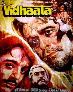 Vidhaata (1984), Dilip Kumar, Classic, Indian, Bollywood, Hindi, Movies, Posters, Hand Painted