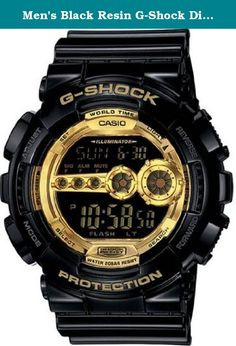 Men's Black Resin G-Shock Digital Strap Gold Tone. Casio G-Shock collection. Black plastic resin case measures 51mm diameter by 16mm thick. Sturdy strap includes a stainless steel buckle. Black digital dial has a LED backlight with a high-brightness diode illuminating in one of variety of colors: blue green light blue pink yellow or white. The Auto white feature illuminates the display when the watch is titled towards your face. 31 time zones (48 cities + coordinated universal time)…