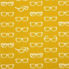 echino canvas designer fabric glasses yellow from Japan