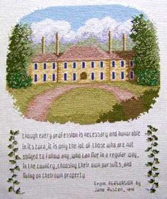 "From Persuasion  This pattern depicts a country manor house with a quotation from Jane Austen's ""Persuasion"" which relates to the superiority of living by independent means. The house was inspired by the Kingwood Center gardens estate in Mansfield, Ohio, USA. Designed by: Thomas Beutel"