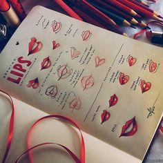 """Another """"One Page Tutorial"""" for you... drawing LIPS ❤ Do you like it? If you have any doubt, you can ask in the comments  • Mais uma página com tutorial rápido ♡ dessa vez mostrando um passo a passo de LÁBIOS ❤ gostaram? Se tiverem alguma duvida é só perguntar nos comentários #lips #red #tutorial #lipstutorial #drawing #drawingtutorial ♡"""
