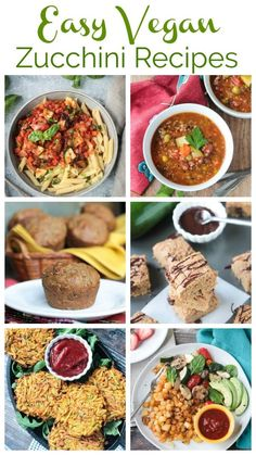Easy Zucchini Recipes - From sweet to savory, breakfast to dinner to dessert, here are the best simple vegan zucchini recipes you're sure to love this summer! Most are gluten free, many are oil free, all are delicious! #zucchini #vegan #vegetables #plantbased Vegan Zucchini Recipes, Vegetarian Recipes Dinner, Entree Recipes, Vegetarian Cooking, Vegan Recipes Easy, Dinner Recipes, Lasagna With Zucchini Noodles, Veggie Noodles, Zucchini Side Dishes
