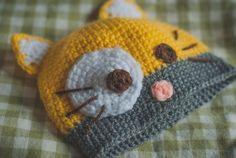 Crochet Newborn Cat Hat Yellow Unisex Baby by SvitrigailesCrochet