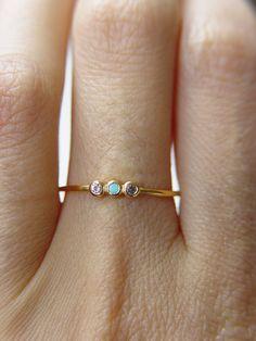 Triplet Turquoise Topaz Ring by #Friedasophie - www.friedasophie.etsy.com