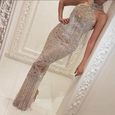 2017 Crystal Long Formal Evening Dress Mermaid Celebrity Pageant Party Prom Gown,493