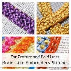 5 Braid-Like Embroidery Stitches for Textured, Bold Lines – NeedlenThread.com