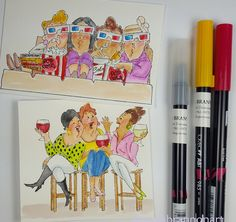 #greetingcard #tombowdualbrushpens by #trenabrannonart #thebrannonfactory image by #artimpressions #wine #girlfriends #laughter #popcorn #movies #3dmovies