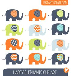 Items similar to ON SALE Baby Elephants Clip Art Set / Elephant Illustration / Printable Clip Art / Commercial / Modern Art / Children / Nursery Art on Etsy Make Your Own Invitations, Happy Elephant, Elephant Illustration, Blog Design, Nursery Art, Baby Shower Invitations, Wall Decals, Art For Kids, Modern Art