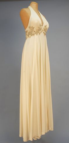 Alfred Bosand beaded empire halter gown  1970