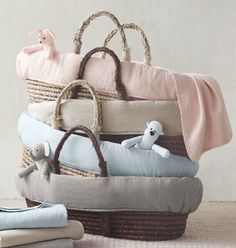 pure organic linen moses basket bedding. washed for extra softness.