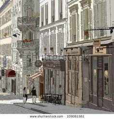 Vector illustration of a street in Montmartre Paris - stock vector
